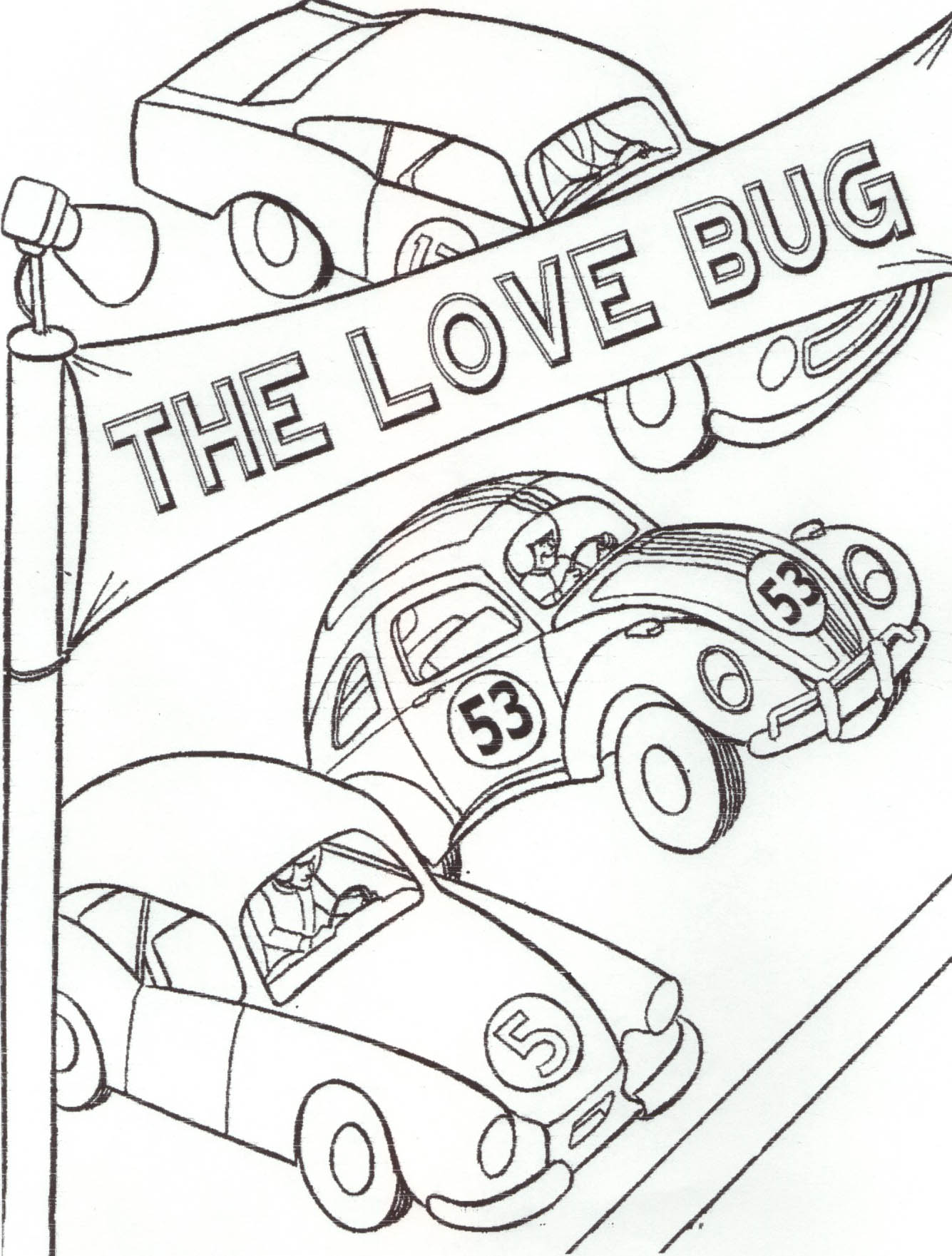 love bug coloring pages - the love bug colouring pages page 2